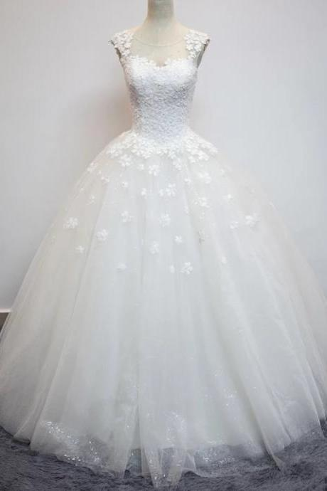 wedding dress,vintage lace flower cap sleeves see through back ball gowns wedding dresses