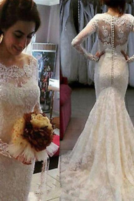 Lace Bateau Neck Long Mesh Sleeves Floor Length Mermaid Wedding Dress Featuring Train