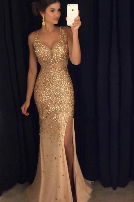 sexy spaghetti Straps prom dress,sweetheart long champagne prom dresses,crystal beaded mermaid evening dresses,long prom gowns