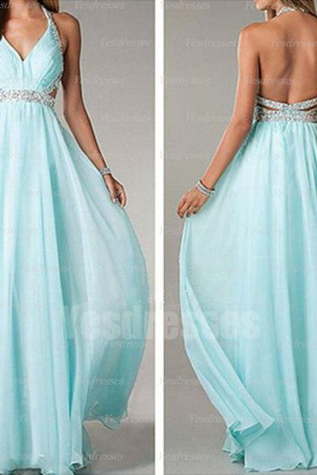 Long prom dress, sexy prom dress, halter prom dress, chiffon prom dress, blue prom dress, backless prom dress,
