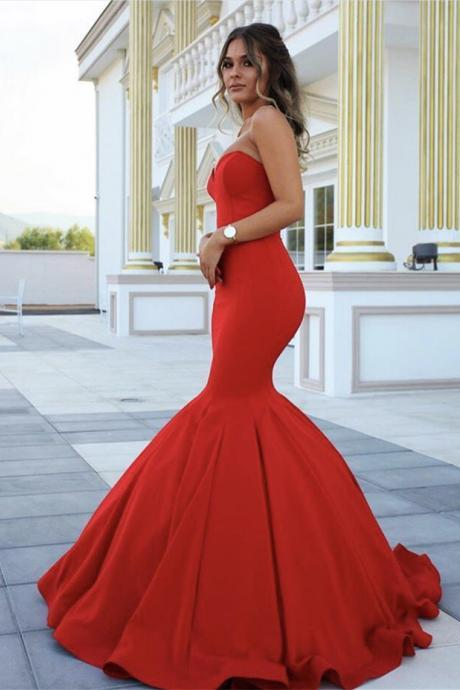Sleeveless Mermaid Prom Dress,Red Long Formal Dresses ,Sweetheart Long Sexy Prom Dresses