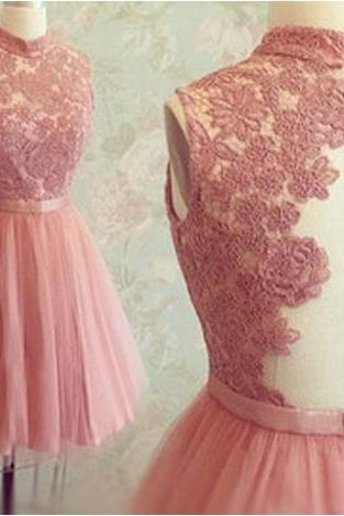 Graduation Dress, Short Tulle Prom Dresses,Mini Party Dresses,Short Homecoming Dresses,Appliques Graduation Dresses,High Neck Sleeveless Prom Dress,Backless Peach Prom Dress,Short Prom Dress,Mini Homecoming Dress