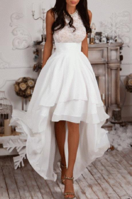 Formal Dress, Sexy High Low Formal Dress,Ivory Chiffon Evening Dress,Sexy Sleeveless Prom Dresses, Formal Dresses, High Quality Prom Dresses,High Quality Graduation Dress,Wedding Guest Dress