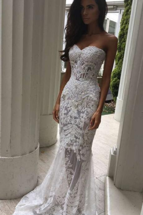 Wedding Dress, Charming White Lace Wedding Dresses,Sexy Sweetheart Bridal Dress,Sexy See Through Wedding Dress ,Formal Dresses, High Quality Prom Dresses, Graduation Dress,Wedding Guest Dress