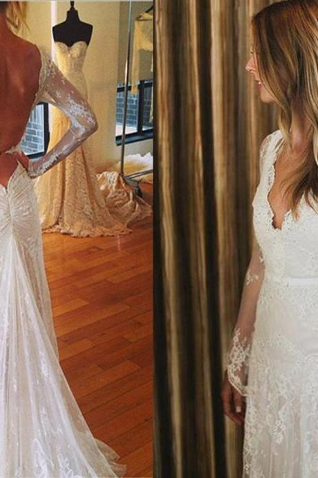 Sexy V-neck Wedding Dresses, Long Custom Wedding Gowns, Long Sleeve Wedding dress