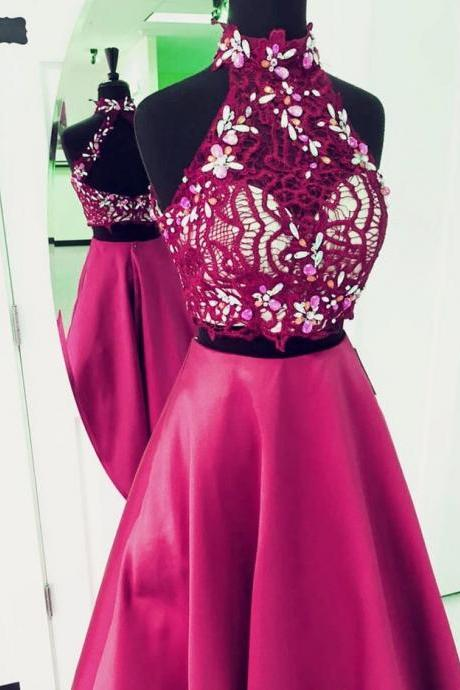 Prom Dresses,Vintage High Neckline Two Piece Prom Dress,Appliqued Crystal Prom Dresses