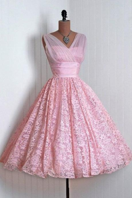 SEXY V-NECK PINK Vintage Homecoming Dress,Vintage Homecoming Dress,Homecoming Dress,Lace Homecoming Dress,Pink Homecoming Dress,Vintage Homecoming Dresses, Lace Homecoming Dresses,girls party dress, sexy prom Dresses,homecoming dress , cheap short sexy prom dress .