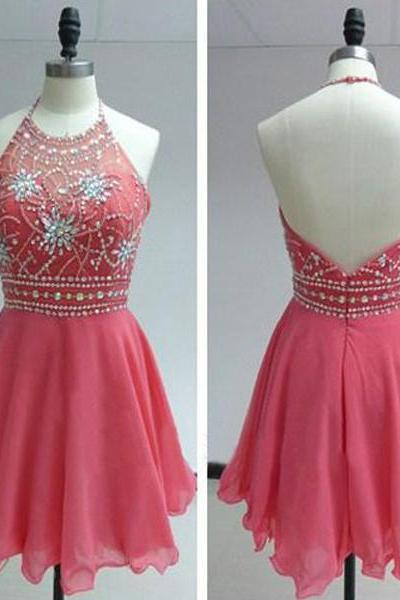 Short Homecoming Dress, Short Pink Homecoming Dresses, Short Halter Prom Dress, Cheap Prom Dress,Chiffon Prom Dress Short,Beaded Homecoming Dresses,Mini Chiffon Prom Dresses,Beaded Mini Party Dresses,Short Evening Dresses
