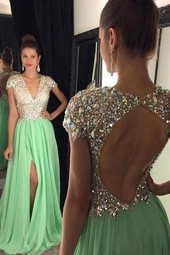Backless Party Dress,Cap sleeves Prom Dresses,A-line Prom Dress,Long Prom Dresses,Beaded Prom Dress,Mint Chiffon Prom Dress,Beaded Chiffon Prom Dress,High Slit Prom Dress,Long Chifffon Evening Dress