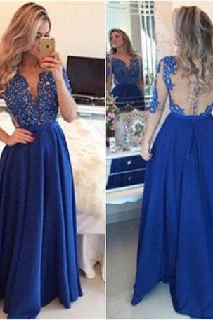 See Through Party Dress,Half-sleeves Prom Dresses,A-line Prom Dress,Long Prom Dresses,Beaded Prom Dress,Navy Chiffon Prom Dress,Beaded Chiffon Prom Dress,Long Prom Dress,Long Chifffon Evening Dress