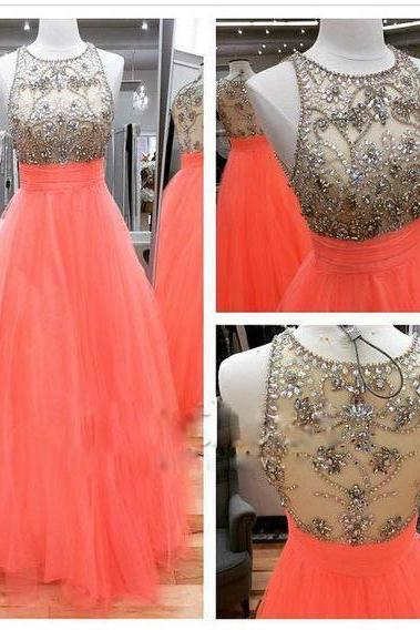 Long Orange Prom Dresses,Tulle Beaded A-line Prom Dress Party Cocktail Dresses Long Homecoming Dress Graduation Dress for Teens