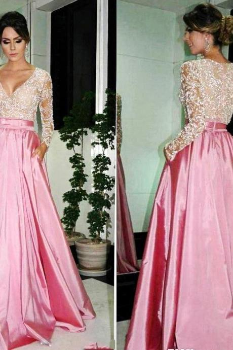 Elegant A-line Prom Dresses,V-neck Long Sleeve Pink Satin Beaded Lace Long Evening Dresses Dubai Kaftan Formal Gowns Long Satin Prom Dress Party Cocktail Dresses