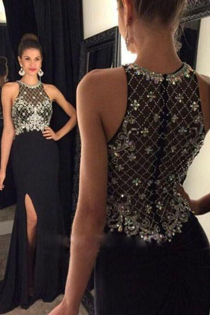 Black A-line Prom Dress,Long Prom Dresses,Beaded Prom Dress,Black Chiffon Prom Dress,Beaded Chiffon Prom Dress,High Slit Prom Dress,Long Chifffon Evening Dress,Black Chiffon Formal Gowns