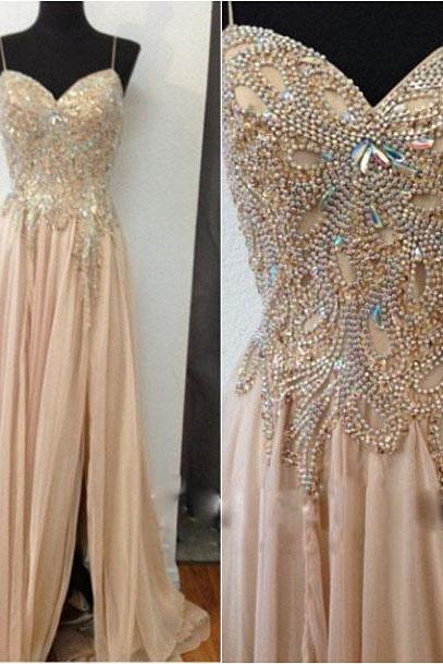 New Champagne Chiffon Beaded Long Prom Dresses, Spaghetti Straps Evening Dress,High Slit Chiffon Prom Dress,Beaded Long Chiffon Formal Gowns,Chiffon Party Dress,Chiffon Prom Dresses