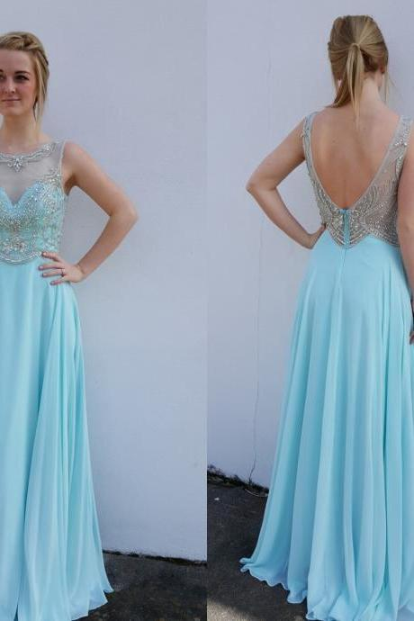 Scoop Backless Prom Dresses, Sexy Prom Dress, Chiffon Prom Dresses, Beaded Chiffon Prom Dresses, Prom Dresses,Beaded Crystal Chiffon Homecoming Dresses, Chiffon Formal Gowns,Long Chiffon Graduation Dresses