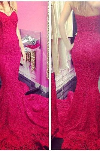 Red lace Prom Dress,Sexy Long Sweetheart Mermaid Prom Dresses Formal Party Evening Dress Ball Gowns