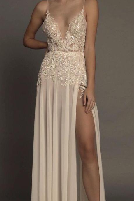 Lace Appliqués Plunge V Spaghetti Straps Floor Length Chiffon A-Line Formal Dress Featuring Slit, Prom Dress