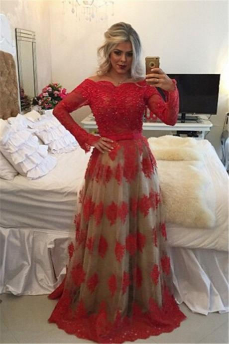Red Lace Prom Dress,Prom Dresses