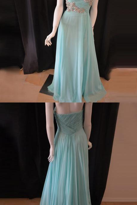 Light Blue Long Formal Occasion Dress with Crystals