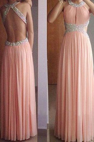 Backless Halter Prom Dress,Sexy Open Back Graduation Dress,Blush Formal Dress,Chiffon Party Dress
