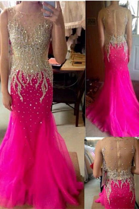 Shiny Beaded Prom Dress,Crystals See Through Long Mermaid Prom Dress Sexy Celebrity Party Pageant Formal Evening Gowns