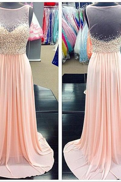 Prom Dress,Sexy Backless Prom gowns,Pearls Graduation Dress,Blush Chiffon Illusion Evening Dress