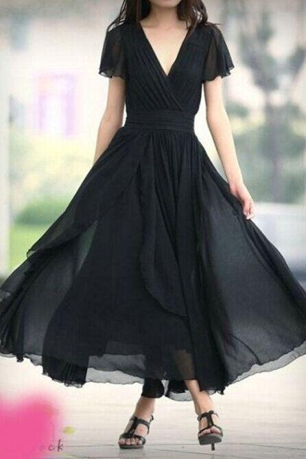 Ankle Length Short Sleeves V-neckline Bridesmaid Dress