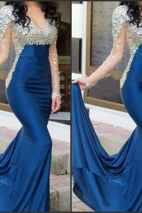 Royal Blue Long Prom Dress,Mermaid Prom Dresses, Long Sleeve Beaded Prom Dress, Sheer O-neck Prom Gowns Party dress Vestidos de festa vestido longo