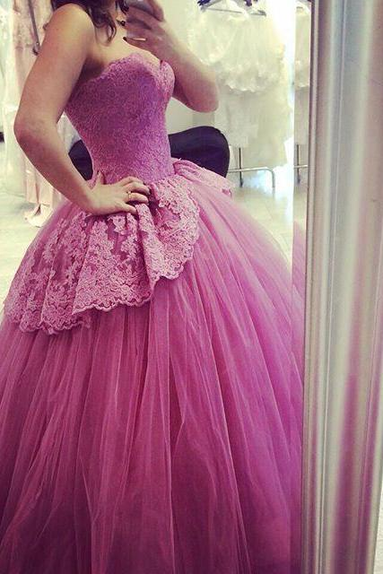 Elegant Ball Gown Prom Dresses,Sweetheart Lace Tulle Prom Dress, Formal Long Prom Party Dress Gown Abendkleider