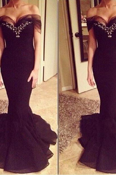 Mermaid prom dress, elegant prom dress, charming prom dress, sexy prom dress, unique prom dress, evening prom gown, cheap prom dress, black prom dress, unique prom dress,