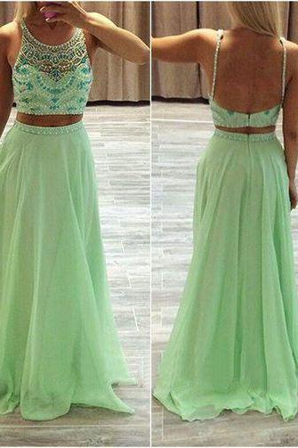 Two Pieces Prom Dress , Two-Piece Prom Dress,2 Piece Prom Dress,Beautiful Beading Prom Dress,Evening Dress,Elegant Women Dress,2016 Prom Dress