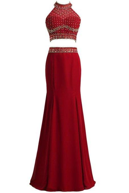 long prom dress,two pieces dress,two pieces evening dress,beaded dress,beaded evening dress