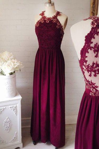 Burgundy Bridesmaid Dress,Keyhole Back Lace Bridesmaid Gown,Vintage Burgundy Lace Formal Party Dress