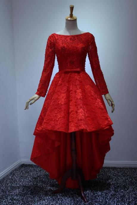 Hot Fashion Red Party Dresses Scoop Long Sleeve Lace Up High Low Cocktail Prom Evening Gowns Custom