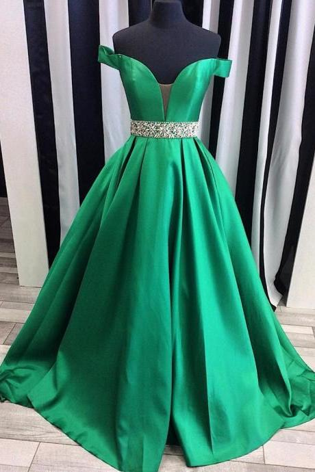 Green Dress , Formal Dress , Shiny Belt Dress , Formal Evening Dress , Free Custom Made Dress