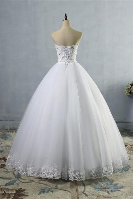Long Wedding Dress Lace Dresses Tulle Sequin Bridal