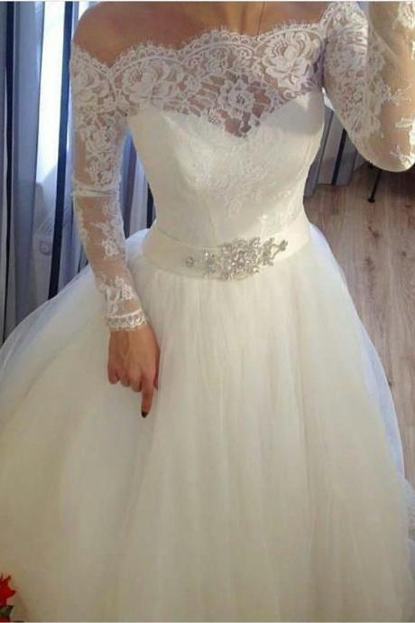 Charming Wedding Dress, Short Wedding Dresses, Full Sleeve Wedding Gown, Elegant Bridal Dress