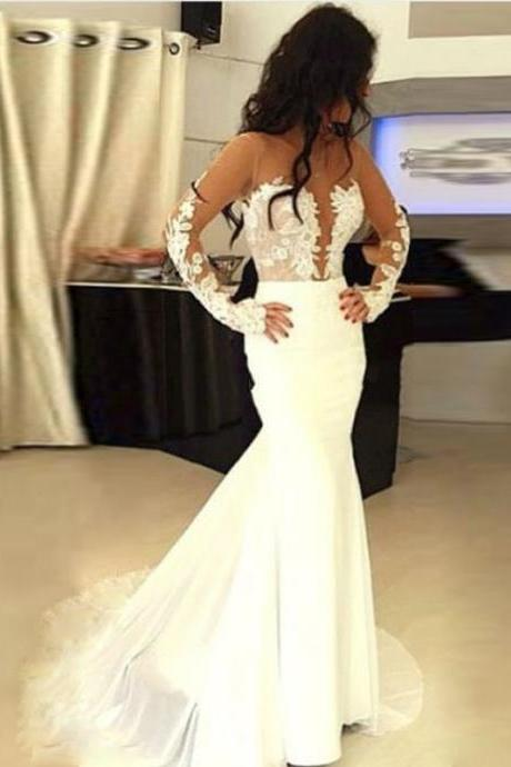 Lace Appliques Mesh Crew Neck Long Sleeves Floor Length Mermaid Wedding Dress