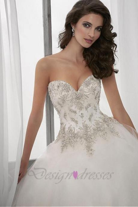 Wedding Dress,Elegant Wedding Dresses,Tulle Wedding Dress, Sweetheart Neckline Wedding Dress,Natural Waistline Wedding Dress, Ball Gown Wedding Dress ,Beaded Wedding Dress, Lace Appliques Wedding Dress,,plus size Wedding Dress,handmade Wedding Dress, custom made Wedding Dress,2015 Wedding Dress,white Wedding Dress, Ivory white Wedding Dress