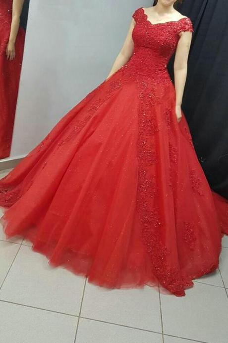 Charming Wedding Dress,Tulle Lace Wedding Dresses,Red Ball Gown Wedding Gown,Elegant Bridal Dress