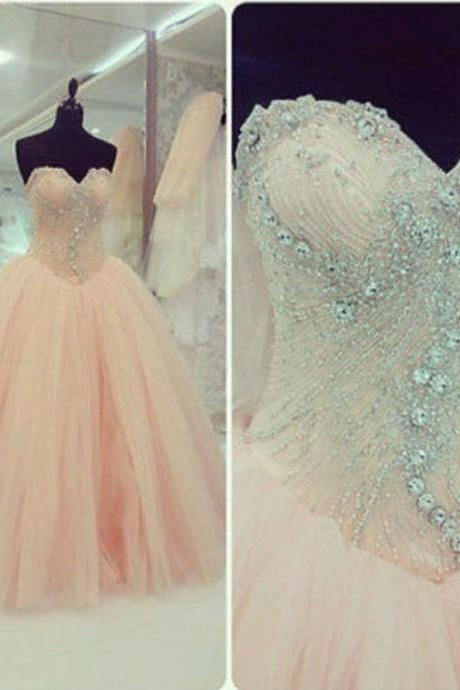Real Iamge Picture Luxury Bling Sparkle Evening Dresses Ball Gown Sweetheart Lace Up Crystals Beads Tulle Long Formal Prom Party Gowns