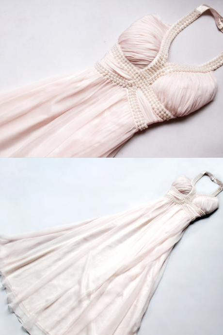 Long Prom Dresses, Backless Prom Dress, Elegant A-Line Long Prom Dress, Evening Gown, with pearl