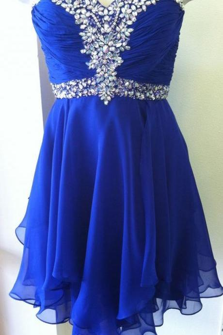 Royal Blue Crystal Embellished Ruched Sweetheart Short Chiffon Homecoming Dress Featuring Curly Hem