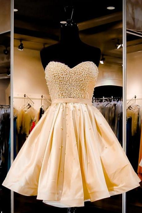 Charming Short Homecoming Dress,Beading Prom Dress,Sweetheart Ball Gown For Teens Homecoming Dresses
