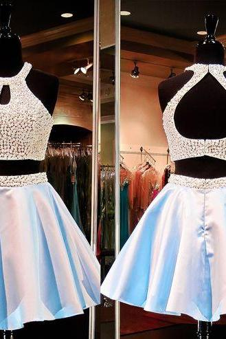 short homecoming dress, two piece prom dress, beading homecoming dress, junior homecoming dress, cheap homecoming dress, halter homecoming dress