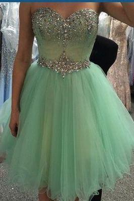 Emerald Homecoming Dress, Beaded Prom Dresses, Tulle Evening Dresses, Sexy Homecoming dresses, Custom Classy prom dresses