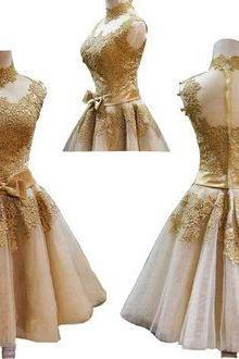 Classy Gold lace Homecoming Dress, Sexy Open back Prom Dress, Bowknot Homecoming Dress,Mini Party Dress