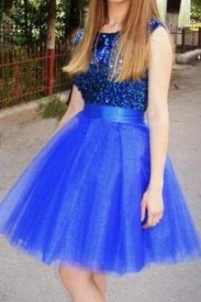 Royal Blue Homecoming Dress,Cute Sequins Prom Dress,Sleeveless Party Dress,Tulle Homecoming Dresses For Teens,Cheap Homecoming Dress