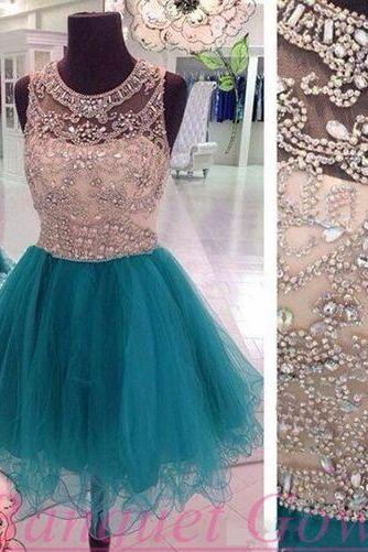 Short Beaded Homecoming dress,Blue prom Dress,Charming Prom Dresses,Party dress for girls