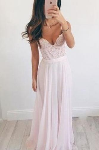 Chiffon A-Line Prom Dress,Long Evening Dress,Lace Prom Dress ,Charming Prom Dresses